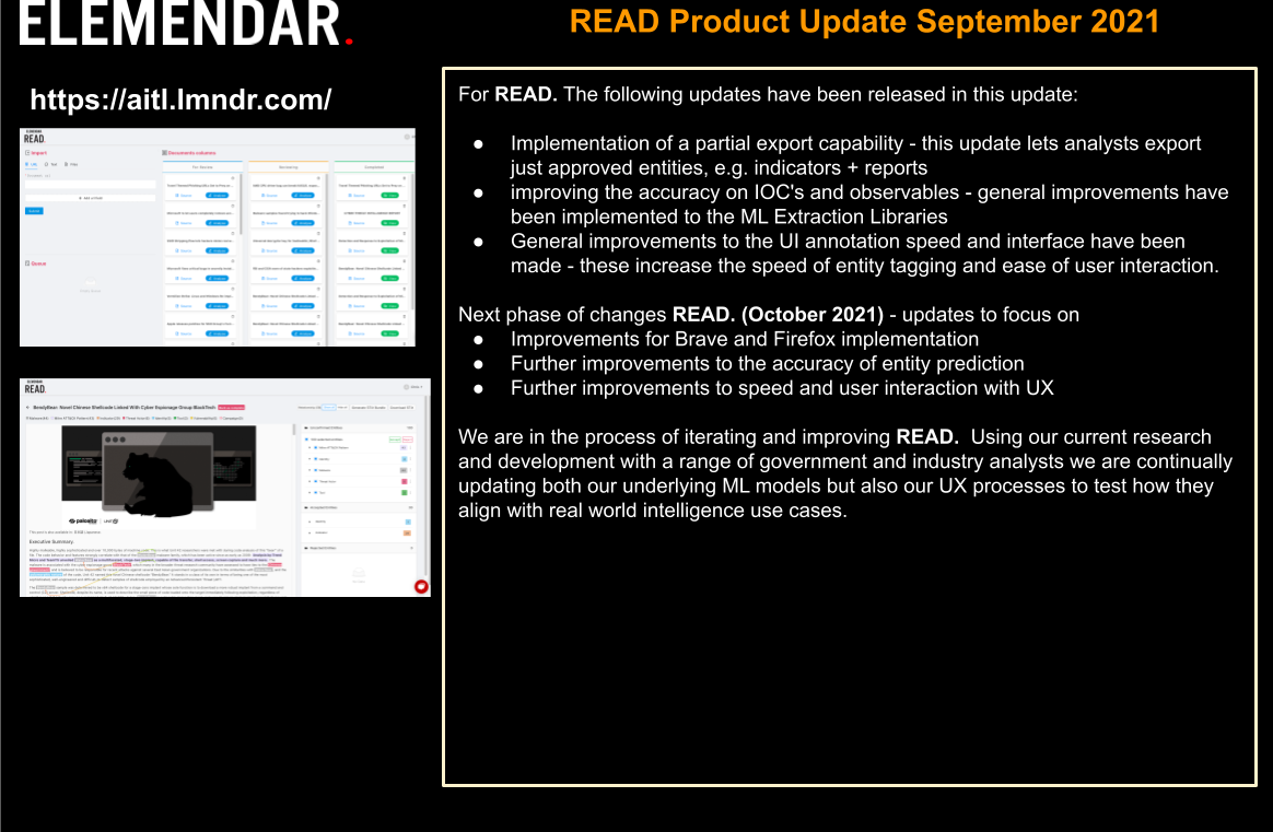 READ. Product Update September 2021